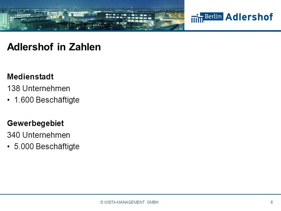Adlershof in Zahlen Medienstadt 138 Unternehmen 1.600 Beschäftigte Gewerbegebiet 340 Unternehmen 5.000 Beschäftigte 8© WISTA-MANAGEMENT GMBH