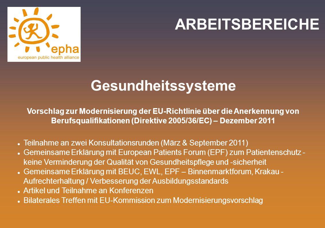 ARBEITSBEREICHE Gesundheitssysteme Vorschlag zur Modernisierung der EU-Richtlinie über die Anerkennung von Berufsqualifikationen (Direktive 2005/36/EC