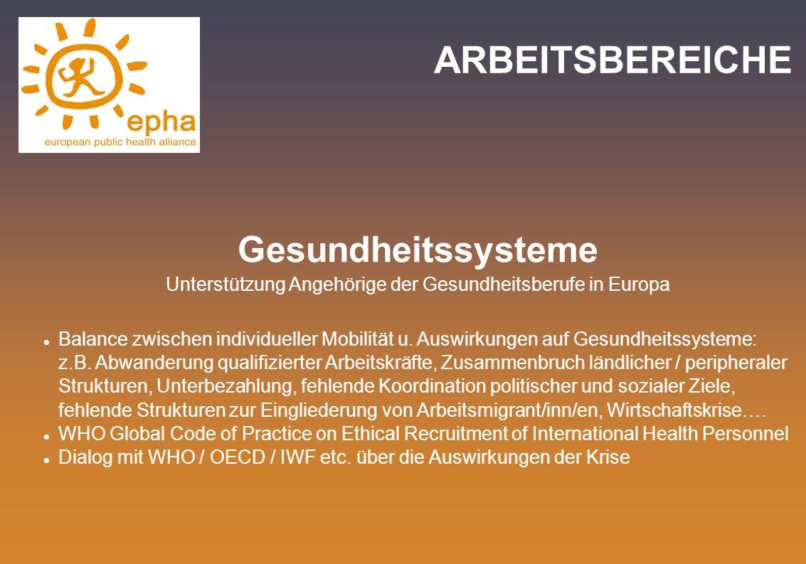 ARBEITSBEREICHE Gesundheitssysteme Unterstützung Angehörige der Gesundheitsberufe in Europa Balance zwischen individueller Mobilität u. Auswirkungen a