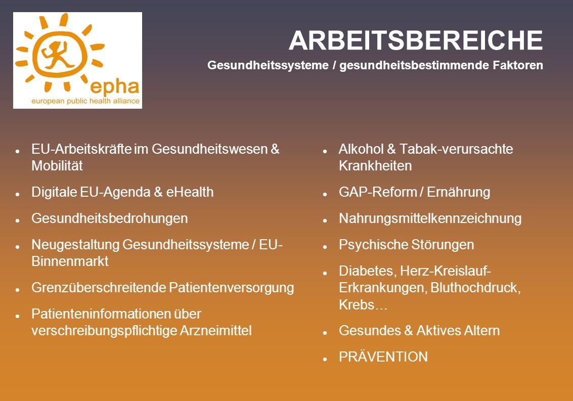 ARBEITSBEREICHE Gesundheitssysteme / gesundheitsbestimmende Faktoren EU-Arbeitskräfte im Gesundheitswesen & Mobilität Digitale EU-Agenda & eHealth Ges