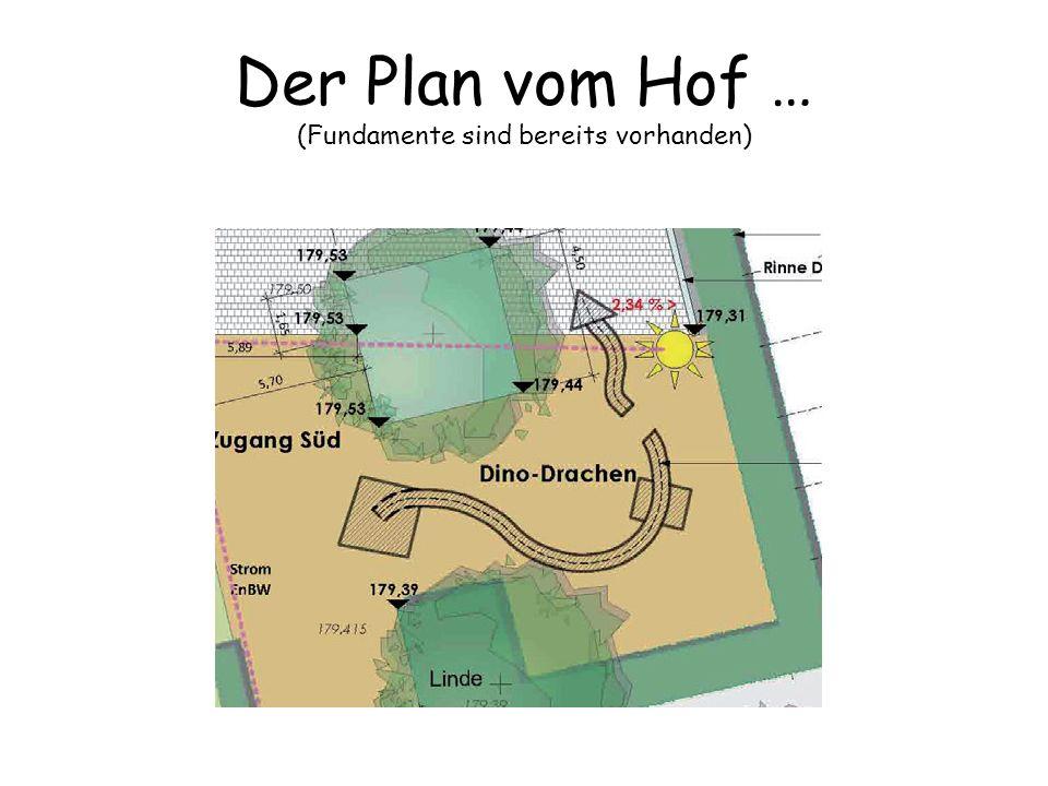 Der Plan vom Hof … (Fundamente sind bereits vorhanden)