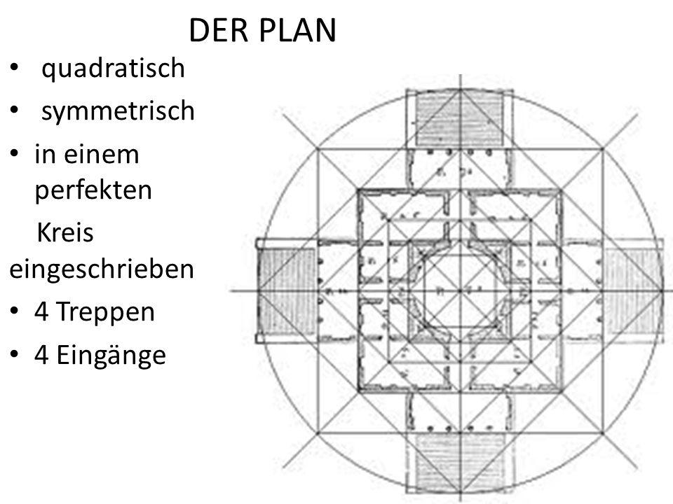 DER PLAN quadratisch symmetrisch in einem perfekten Kreis eingeschrieben 4 Treppen 4 Eingänge