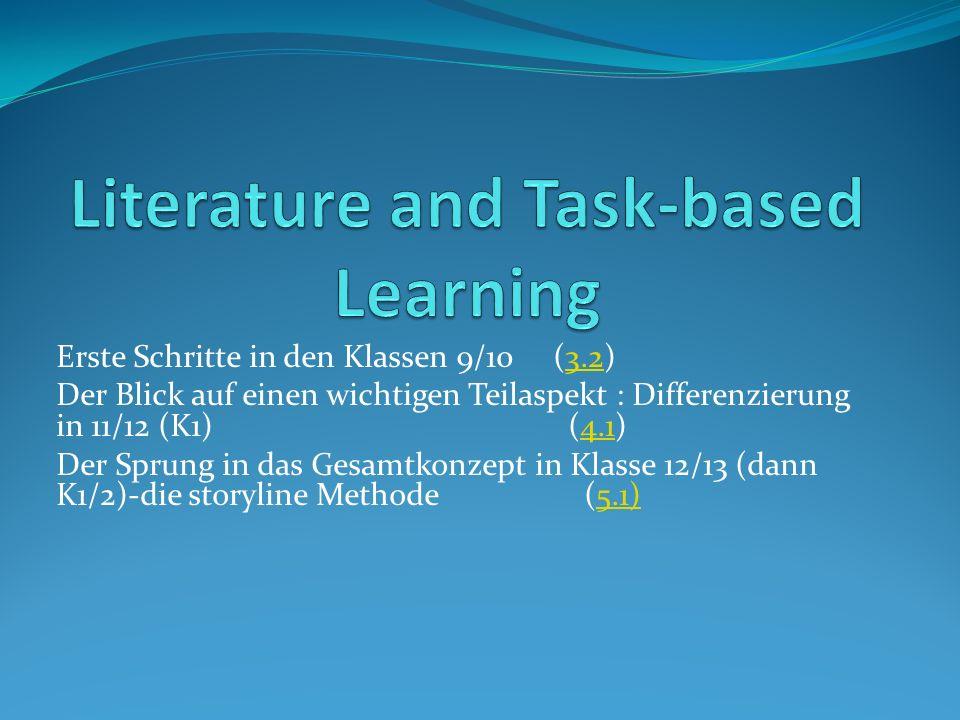 Erste Schritte in den Klassen 9/10 (3.2)3.2 Der Blick auf einen wichtigen Teilaspekt : Differenzierung in 11/12 (K1) (4.1)4.1 Der Sprung in das Gesamtkonzept in Klasse 12/13 (dann K1/2)-die storyline Methode (5.1)5.1)