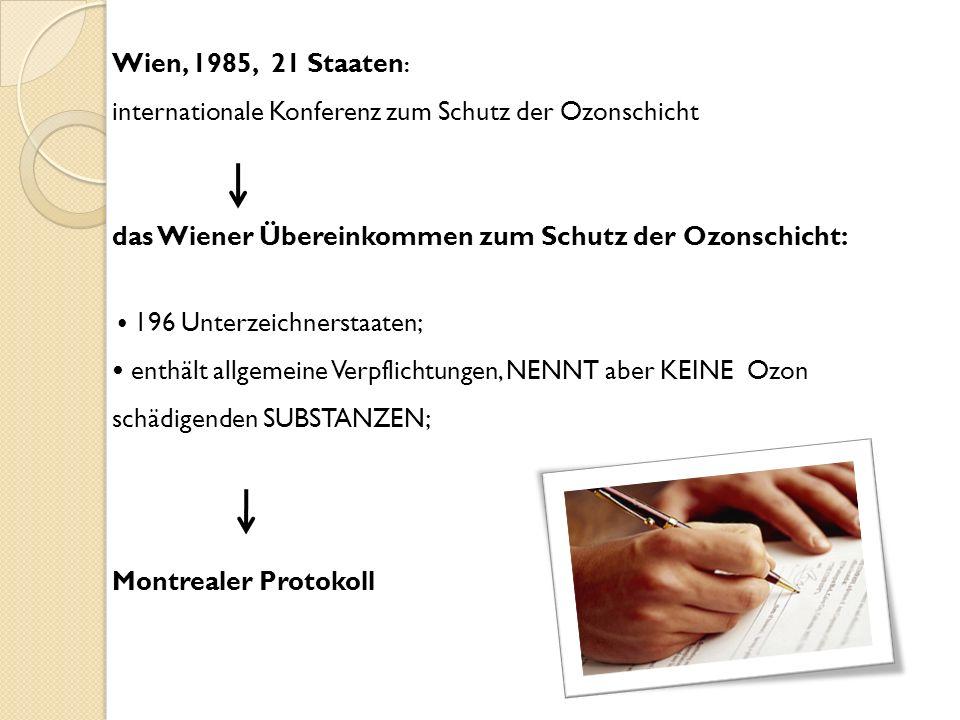 Wien, 1985, 21 Staaten : internationale Konferenz zum Schutz der Ozonschicht das Wiener Übereinkommen zum Schutz der Ozonschicht: 196 Unterzeichnersta