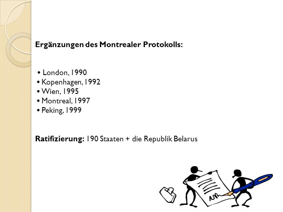 Ergänzungen des Montrealer Protokolls: London, 1990 Kopenhagen, 1992 Wien, 1995 Montreal, 1997 Peking, 1999 Ratifizierung: 190 Staaten + die Republik