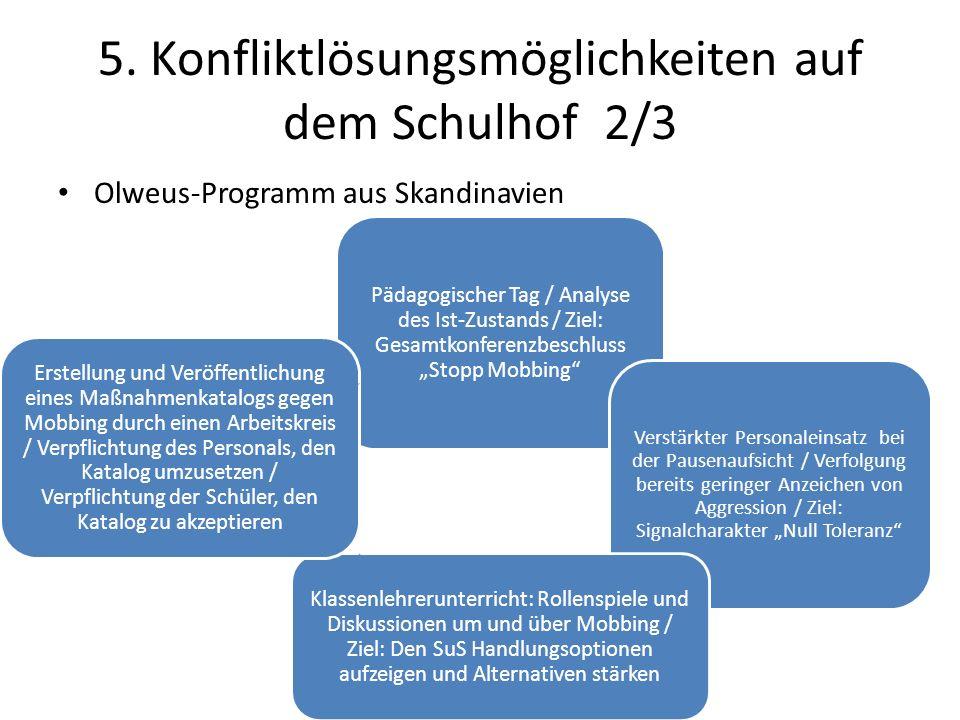 5. Konfliktlösungsmöglichkeiten auf dem Schulhof 2/3 Olweus-Programm aus Skandinavien Pädagogischer Tag / Analyse des Ist-Zustands / Ziel: Gesamtkonfe