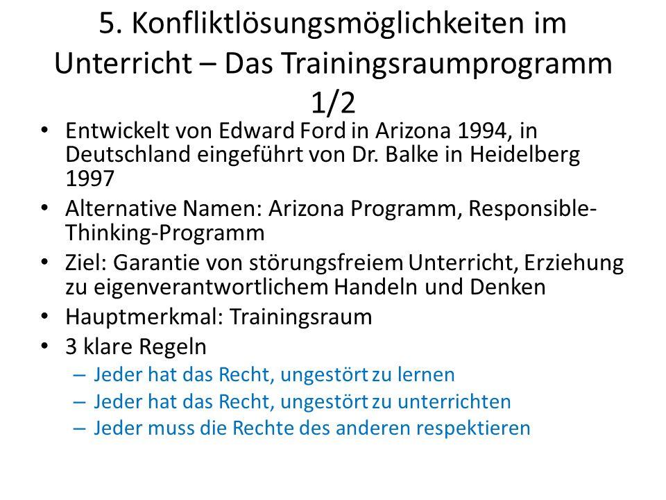 5. Konfliktlösungsmöglichkeiten im Unterricht – Das Trainingsraumprogramm 1/2 Entwickelt von Edward Ford in Arizona 1994, in Deutschland eingeführt vo