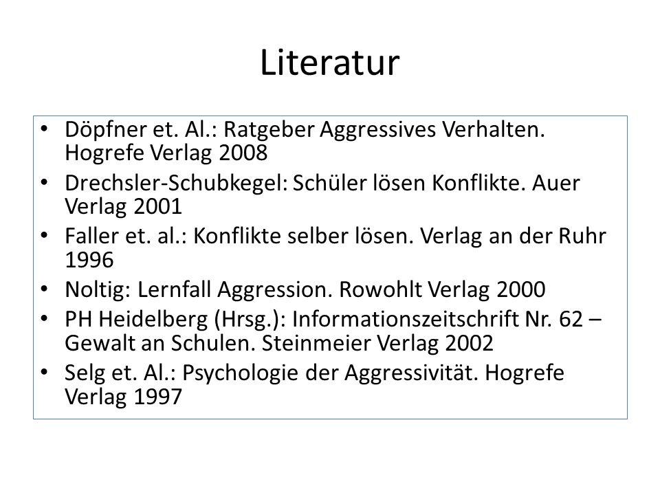Literatur Döpfner et. Al.: Ratgeber Aggressives Verhalten. Hogrefe Verlag 2008 Drechsler-Schubkegel: Schüler lösen Konflikte. Auer Verlag 2001 Faller