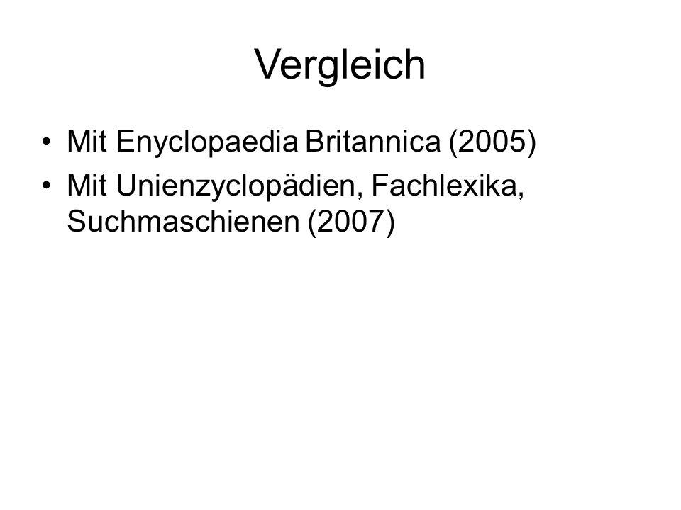 Vergleich Mit Enyclopaedia Britannica (2005) Mit Unienzyclopädien, Fachlexika, Suchmaschienen (2007)