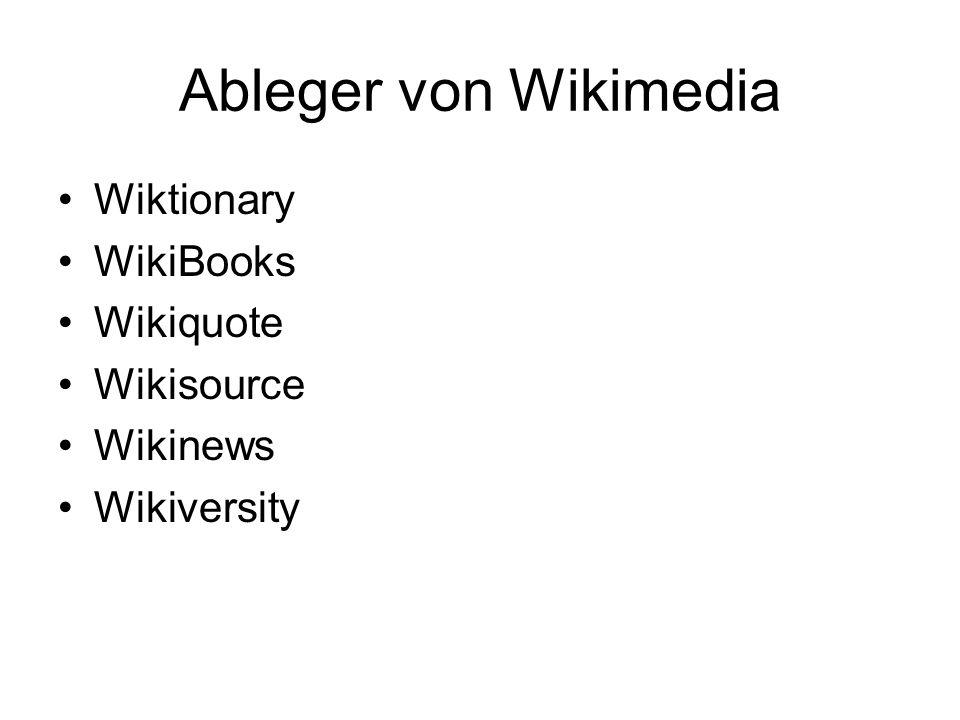 Ableger von Wikimedia Wiktionary WikiBooks Wikiquote Wikisource Wikinews Wikiversity