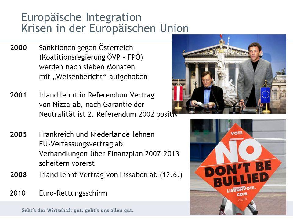 2000 Sanktionen gegen Österreich (Koalitionsregierung ÖVP - FPÖ) werden nach sieben Monaten mit Weisenbericht aufgehoben 2001 Irland lehnt in Referendum Vertrag von Nizza ab, nach Garantie der Neutralität ist 2.