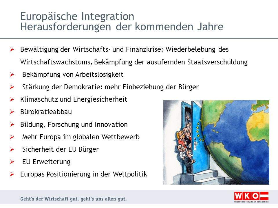 Europäische Integration Herausforderungen der kommenden Jahre Bewältigung der Wirtschafts- und Finanzkrise: Wiederbelebung des Wirtschaftswachstums, Bekämpfung der ausufernden Staatsverschuldung Bekämpfung von Arbeitslosigkeit Stärkung der Demokratie: mehr Einbeziehung der Bürger Klimaschutz und Energiesicherheit Bürokratieabbau Bildung, Forschung und Innovation Mehr Europa im globalen Wettbewerb Sicherheit der EU Bürger EU Erweiterung Europas Positionierung in der Weltpolitik