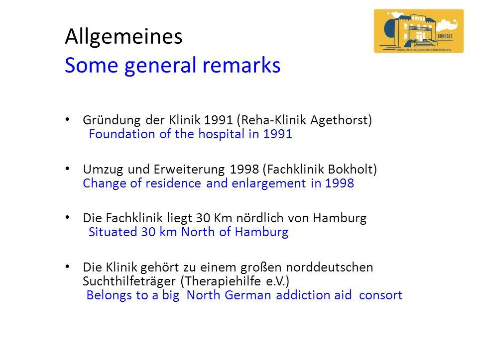 Allgemeines Some general remarks Gründung der Klinik 1991 (Reha-Klinik Agethorst) Foundation of the hospital in 1991 Umzug und Erweiterung 1998 (Fachk