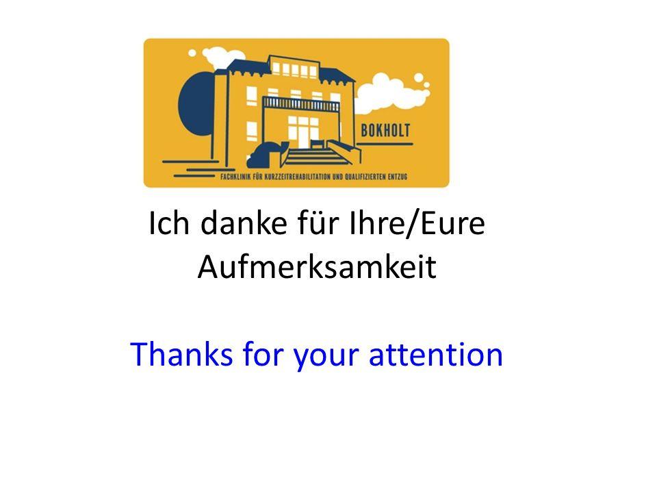 Ich danke für Ihre/Eure Aufmerksamkeit Thanks for your attention