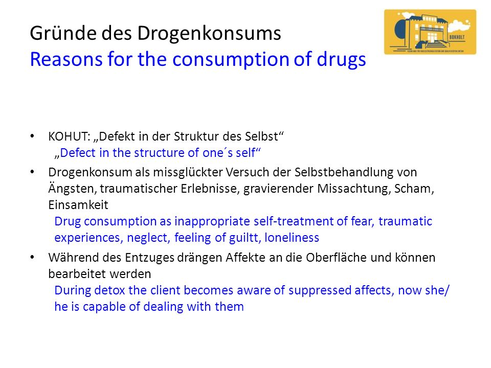 Gründe des Drogenkonsums Reasons for the consumption of drugs KOHUT: Defekt in der Struktur des SelbstDefect in the structure of one´s self Drogenkons