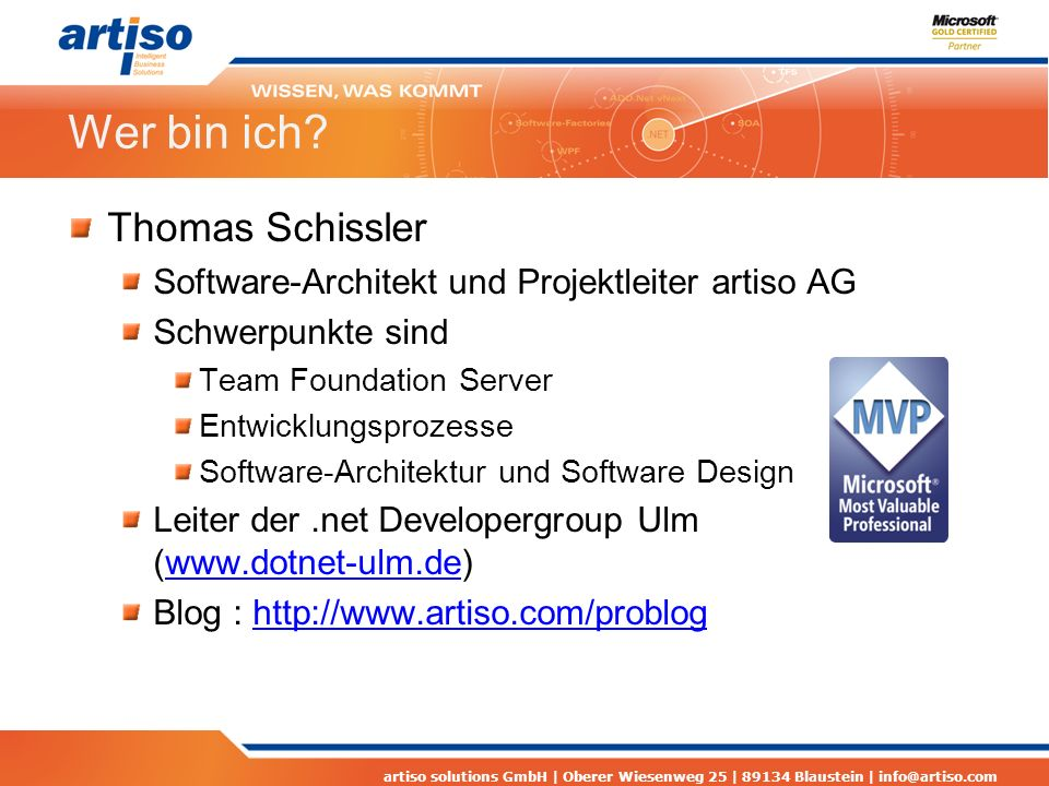 artiso solutions GmbH | Oberer Wiesenweg 25 | 89134 Blaustein | info@artiso.com Contract First Design
