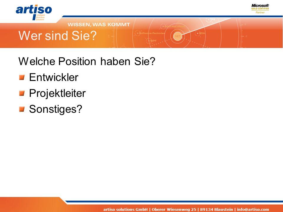 artiso solutions GmbH | Oberer Wiesenweg 25 | 89134 Blaustein | info@artiso.com Statusaktualisierung