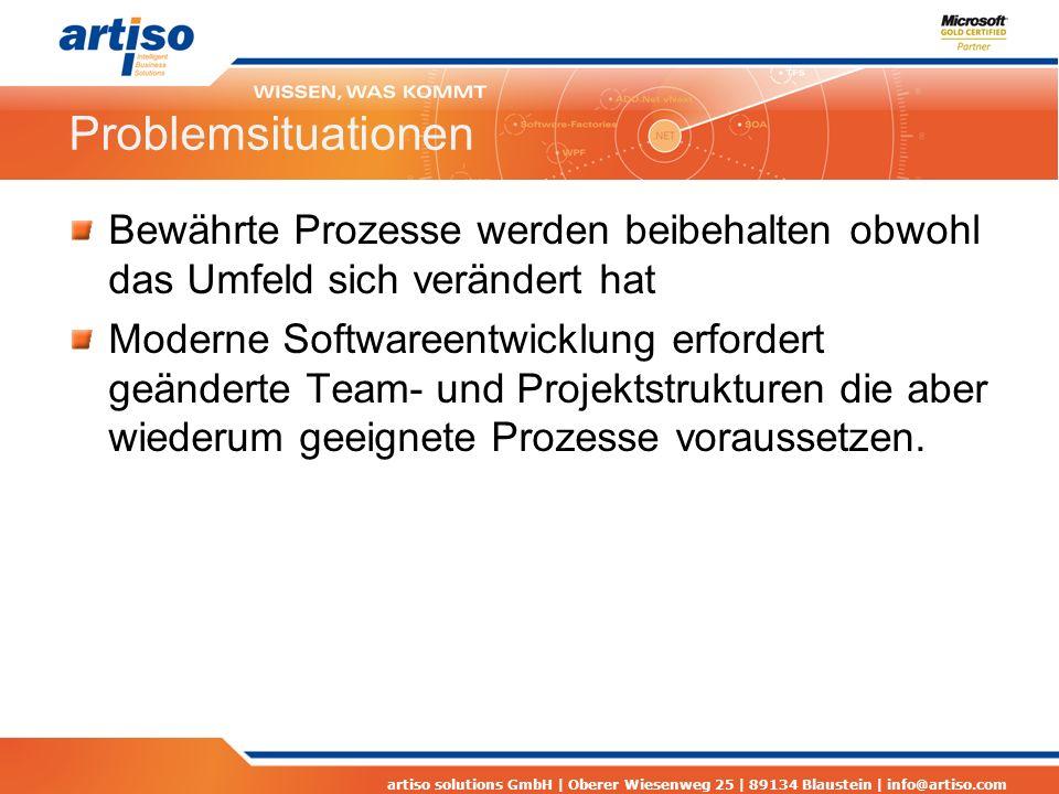 artiso solutions GmbH | Oberer Wiesenweg 25 | 89134 Blaustein | info@artiso.com Problemsituationen Längst bekannte Probleme verursachen einen hohen Anpassungsaufwand Anpassungen und Fehlerbehebungen müssen über Gewährleistung erbracht werden Architektur- oder Technologieentscheidungen stellen sich als problematisch heraus
