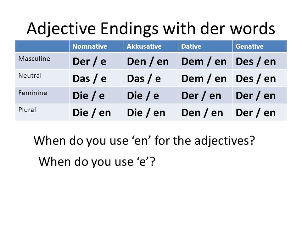 Adjective Endings with der words NomnativeAkkusativeDativeGenative Masculine Der / eDen / enDem / enDes / en Neutral Das / e Dem / enDes / en Feminine