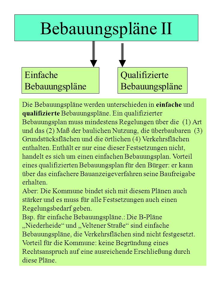 Bebauungspläne II Die Bebauungspläne werden unterschieden in einfache und qualifizierte Bebauungspläne. Ein qualifizierter Bebauungsplan muss mindeste