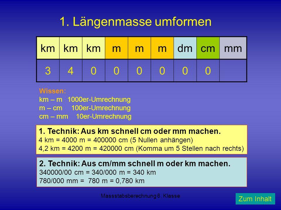 Massstabsberechnung 6. Klasse 1. Längenmasse umformen km mmmdmcmmm 34000000 Wissen: km – m 1000er-Umrechnung m – cm 100er-Umrechnung cm – mm 10er-Umre