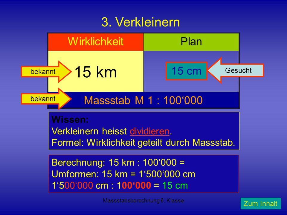 Massstabsberechnung 6. Klasse 3. Verkleinern WirklichkeitPlan 15 km? Massstab M 1 : 100000 Wissen: Verkleinern heisst dividieren. Formel: Wirklichkeit