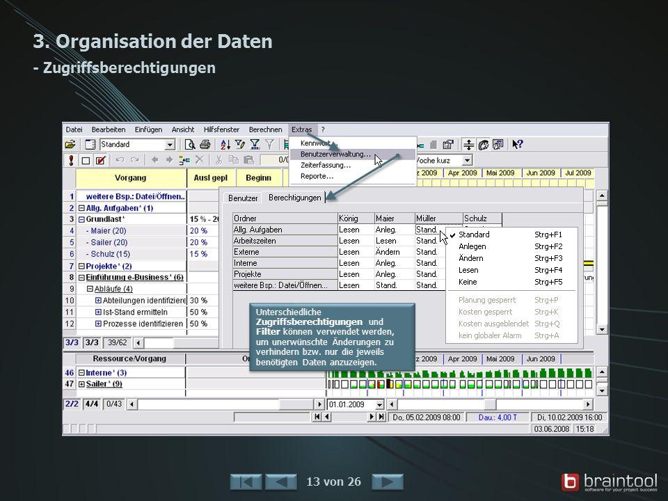 3. Organisation der Daten - Zugriffsberechtigungen 13 von 26 Unterschiedliche Zugriffsberechtigungen und Filter können verwendet werden, um unerwünsch