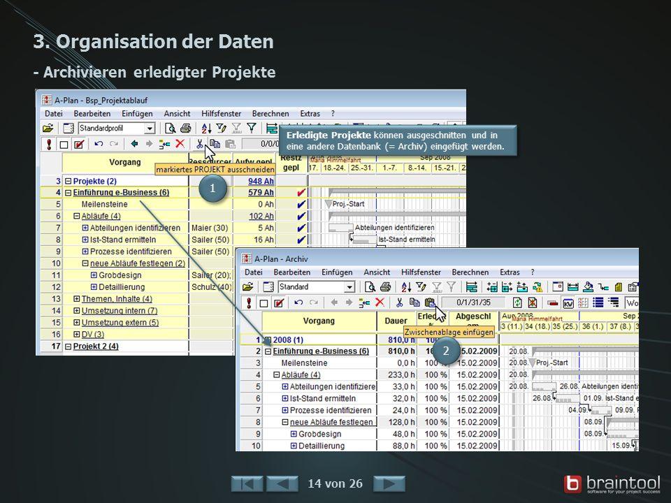 3. Organisation der Daten - Archivieren erledigter Projekte 14 von 26 1 1 2 2 Erledigte Projekte können ausgeschnitten und in eine andere Datenbank (=
