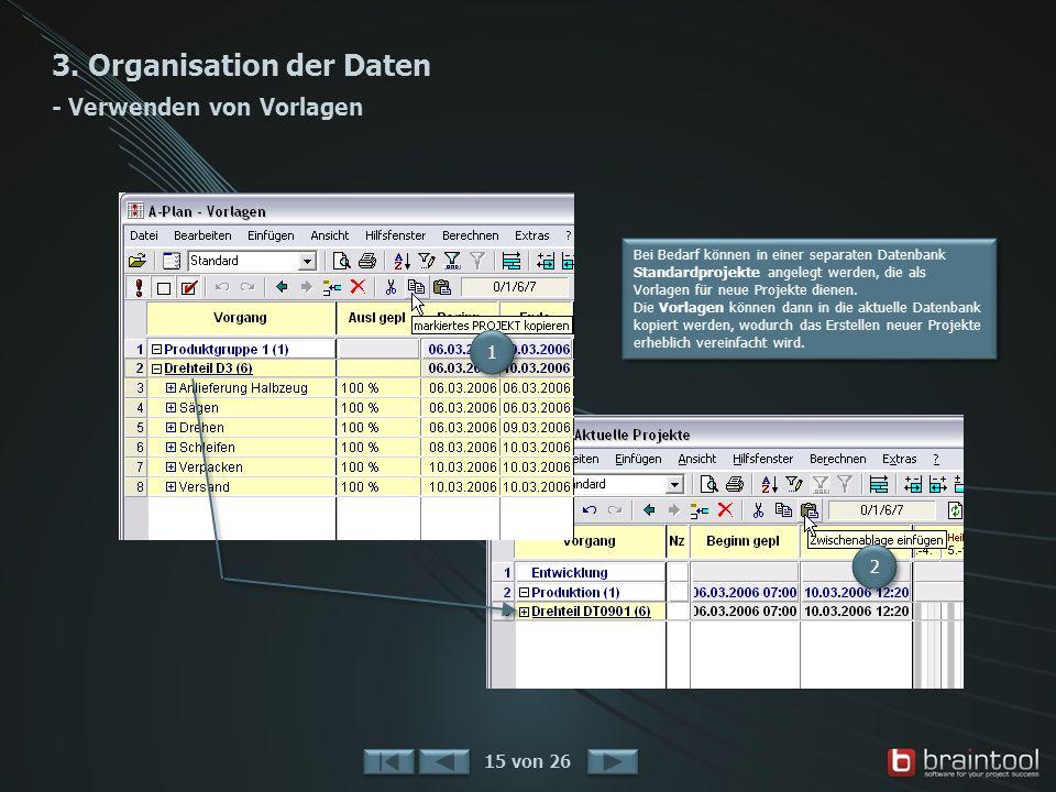 3. Organisation der Daten - Verwenden von Vorlagen 15 von 26 Bei Bedarf können in einer separaten Datenbank Standardprojekte angelegt werden, die als