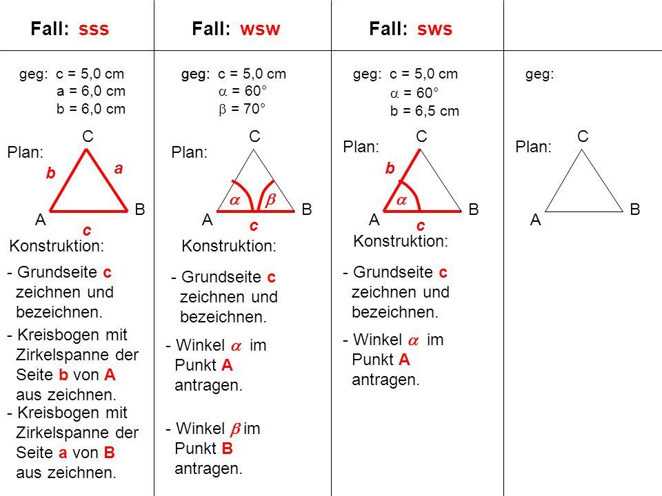geg: c = 5,0 cm a = 6,0 cm b = 6,0 cm A B C geg: A B C A B C A B C Plan: c a b Fall: sss Konstruktion: - Grundseite c zeichnen und bezeichnen.