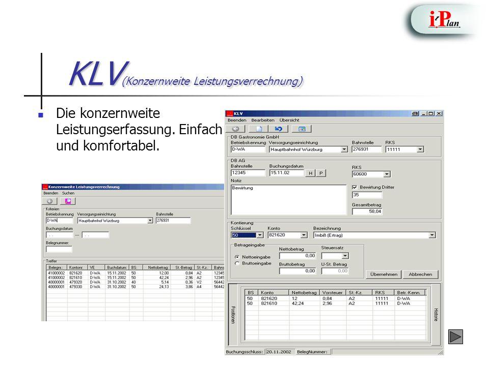 KLV (Konzernweite Leistungsverrechnung) Die konzernweite Leistungserfassung. Einfach und komfortabel.