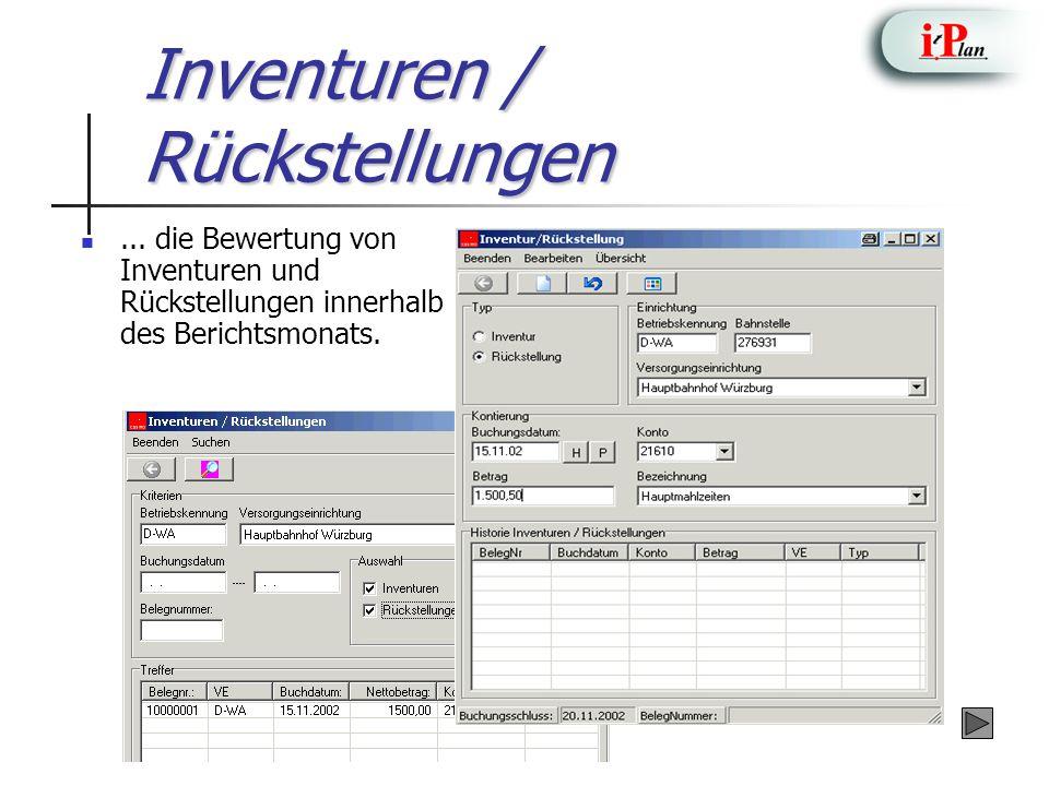 Inventuren / Rückstellungen... die Bewertung von Inventuren und Rückstellungen innerhalb des Berichtsmonats.