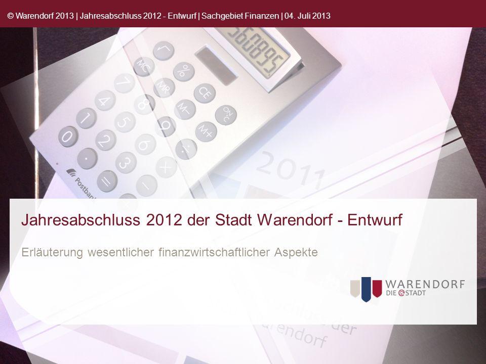 Jahresabschluss 2012 der Stadt Warendorf - Entwurf Erläuterung wesentlicher finanzwirtschaftlicher Aspekte © Warendorf 2013 | Jahresabschluss 2012 - Entwurf | Sachgebiet Finanzen | 04.