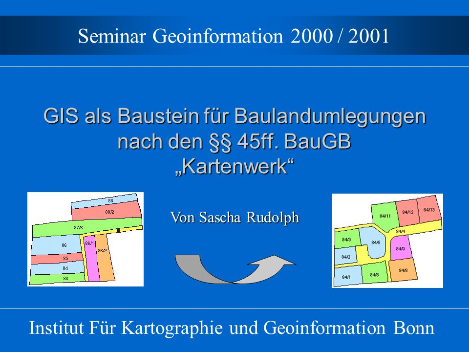 GIS in der Baulandumlegung Verfügbare Programme Modul Bodo (Bodenordnung): –Programm des IBR, Bonn –Entwicklung in Zusammenarbeit mit Bezirksregierung Rheinhessen - Pfalz –Einbindung in Graphisches Programmsystem DAVID + Vermessungstechnisches Berechnungsprogramm (VPR)