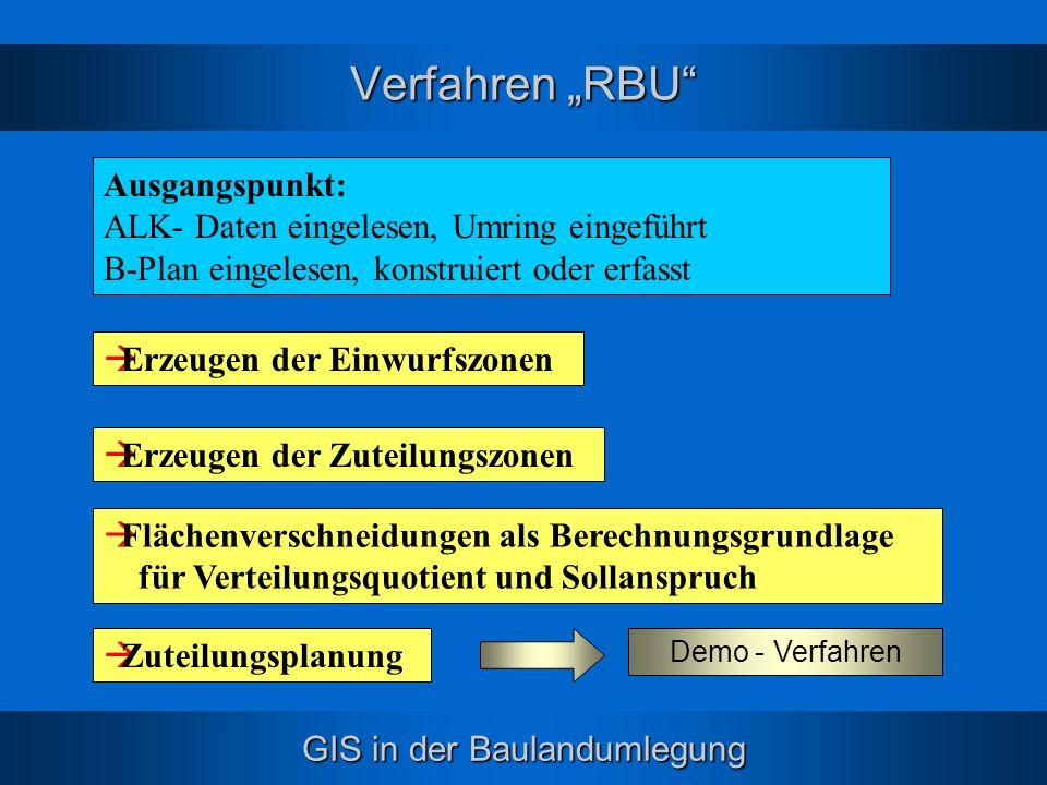 GIS in der Baulandumlegung Verfahren RBU Flächenverschneidungen als Berechnungsgrundlage für Verteilungsquotient und Sollanspruch Zuteilungsplanung Er