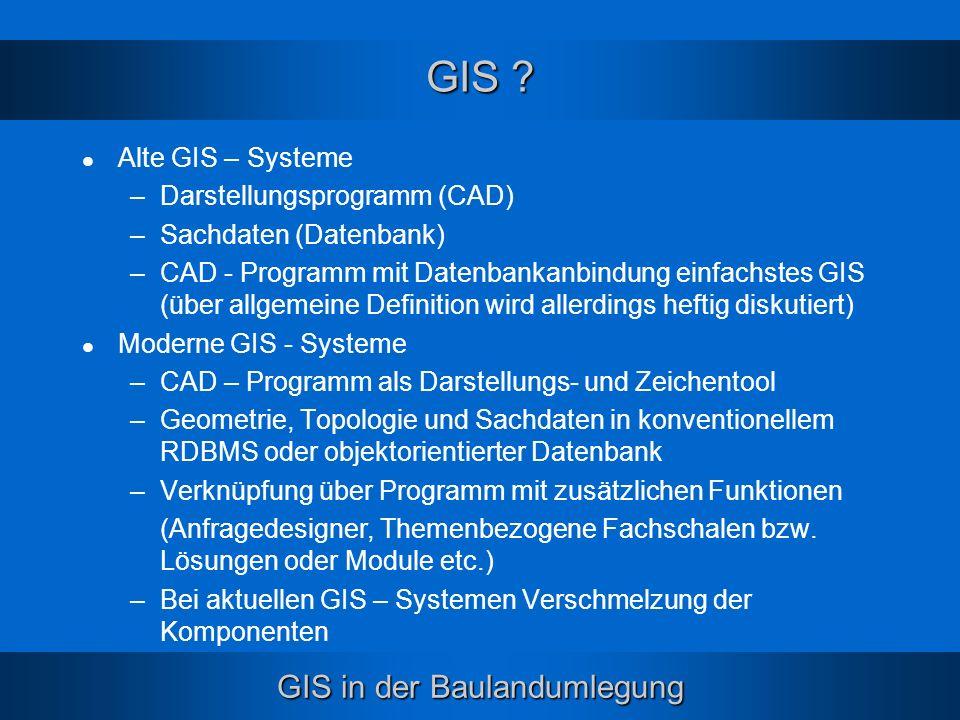 GIS in der Baulandumlegung GIS ? Alte GIS – Systeme –Darstellungsprogramm (CAD) –Sachdaten (Datenbank) –CAD - Programm mit Datenbankanbindung einfachs