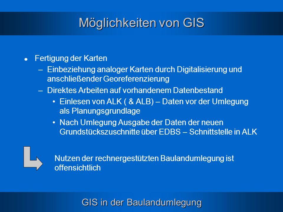 GIS in der Baulandumlegung Möglichkeiten von GIS Fertigung der Karten –Einbeziehung analoger Karten durch Digitalisierung und anschließender Georefere