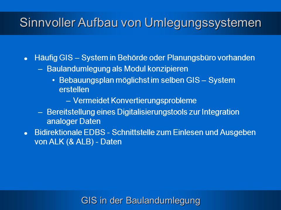 GIS in der Baulandumlegung Sinnvoller Aufbau von Umlegungssystemen Häufig GIS – System in Behörde oder Planungsbüro vorhanden –Baulandumlegung als Mod