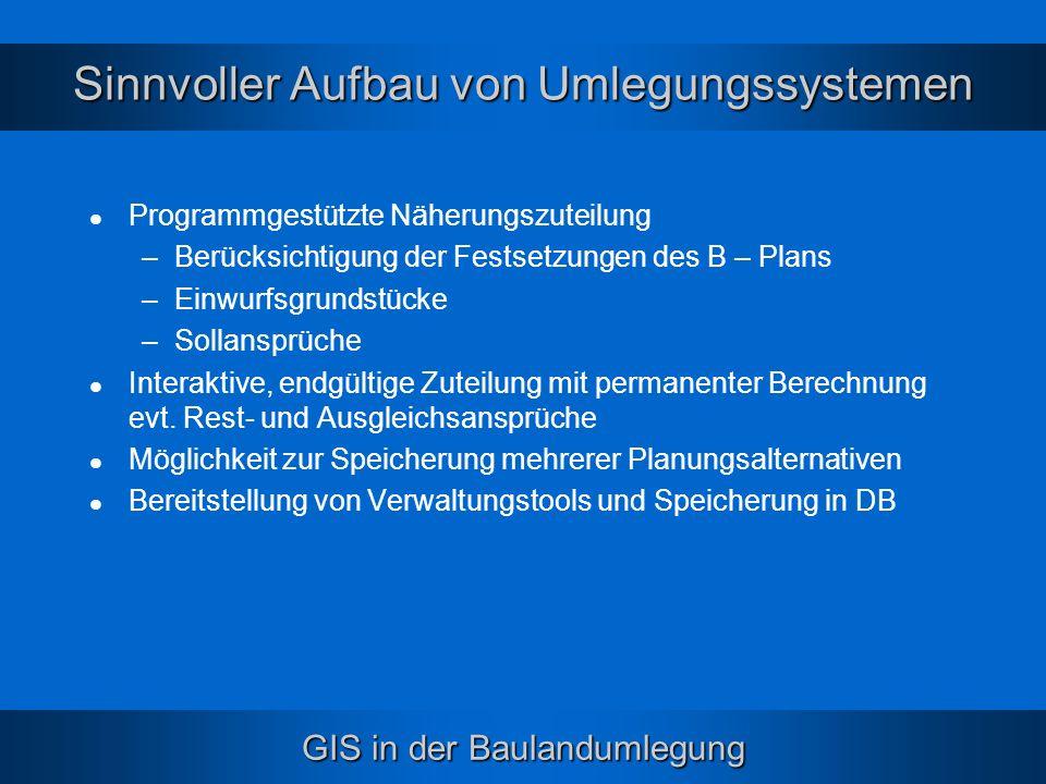 GIS in der Baulandumlegung Sinnvoller Aufbau von Umlegungssystemen Programmgestützte Näherungszuteilung –Berücksichtigung der Festsetzungen des B – Pl