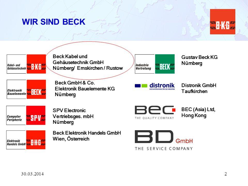 Beck GmbH & Co. Elektronik Bauelemente KG Nürnberg Beck Kabel und Gehäusetechnik GmbH Nürnberg/ Emskirchen / Rustow Beck Elektronik Handels GmbH Wien,
