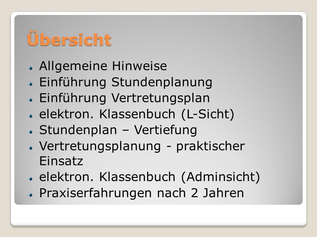 Übersicht Allgemeine Hinweise Einführung Stundenplanung Einführung Vertretungsplan elektron.