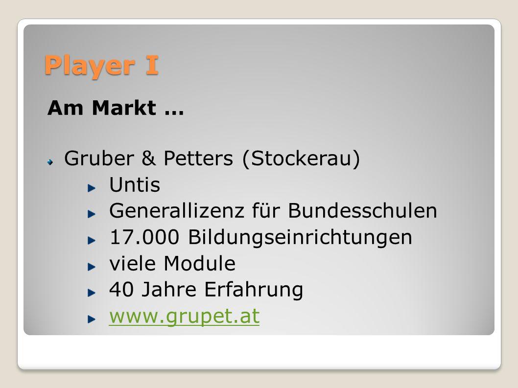 Player I Am Markt … Gruber & Petters (Stockerau) Untis Generallizenz für Bundesschulen 17.000 Bildungseinrichtungen viele Module 40 Jahre Erfahrung www.grupet.at