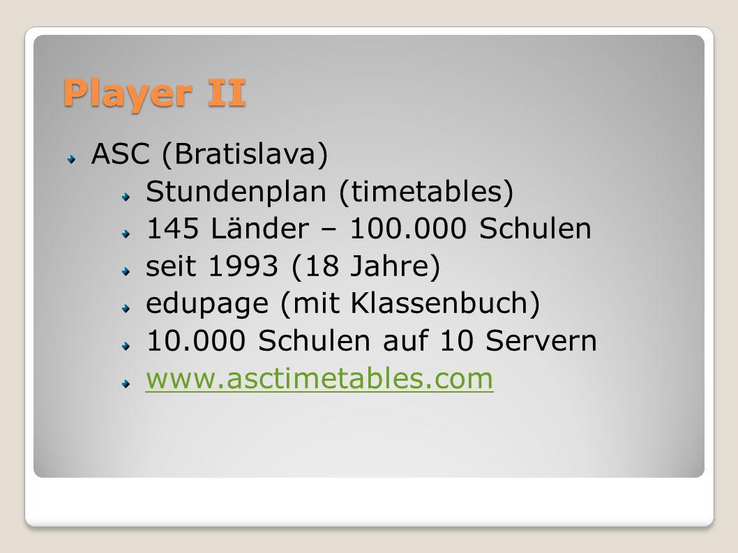 Player II ASC (Bratislava) Stundenplan (timetables) 145 Länder – 100.000 Schulen seit 1993 (18 Jahre) edupage (mit Klassenbuch) 10.000 Schulen auf 10 Servern www.asctimetables.com