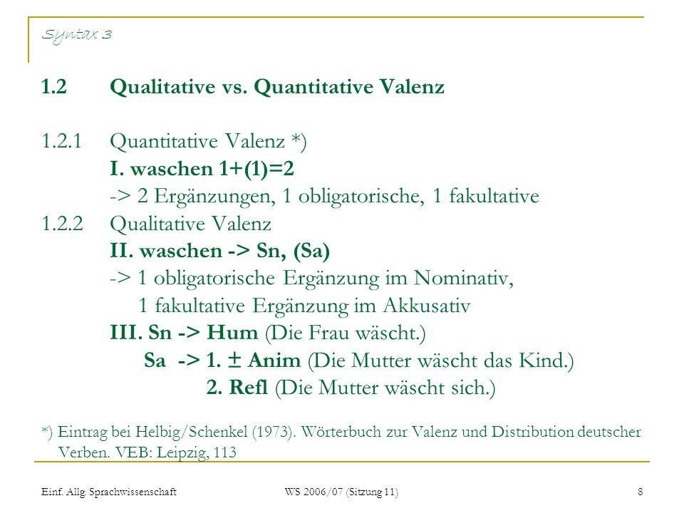 Einf.Allg. Sprachwissenschaft WS 2006/07 (Sitzung 11) 8 Syntax 3 1.2Qualitative vs.