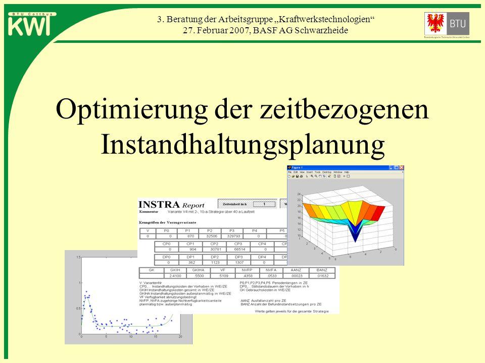 3. Beratung der Arbeitsgruppe Kraftwerkstechnologien 27. Februar 2007, BASF AG Schwarzheide Optimierung der zeitbezogenen Instandhaltungsplanung