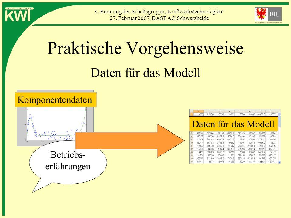 3. Beratung der Arbeitsgruppe Kraftwerkstechnologien 27. Februar 2007, BASF AG Schwarzheide Praktische Vorgehensweise Daten für das Modell Komponenten