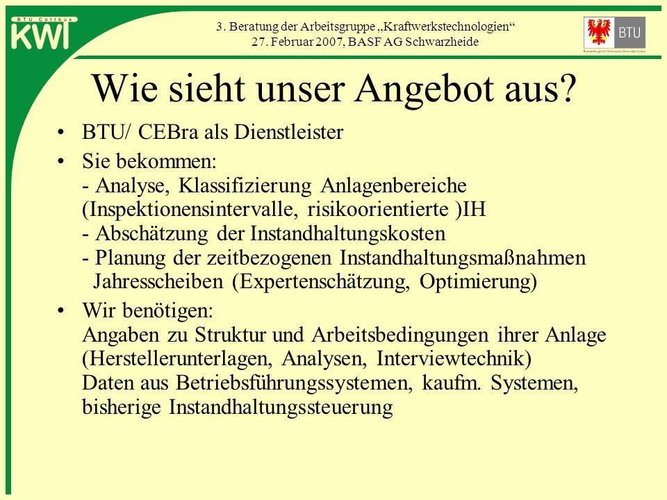 3. Beratung der Arbeitsgruppe Kraftwerkstechnologien 27. Februar 2007, BASF AG Schwarzheide Wie sieht unser Angebot aus? BTU/ CEBra als Dienstleister