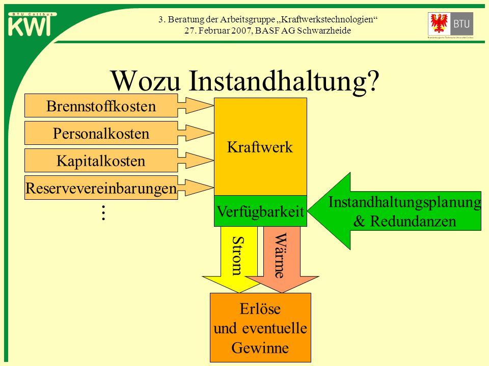 3. Beratung der Arbeitsgruppe Kraftwerkstechnologien 27. Februar 2007, BASF AG Schwarzheide Kraftwerk Verfügbarkeit Instandhaltungsplanung & Redundanz