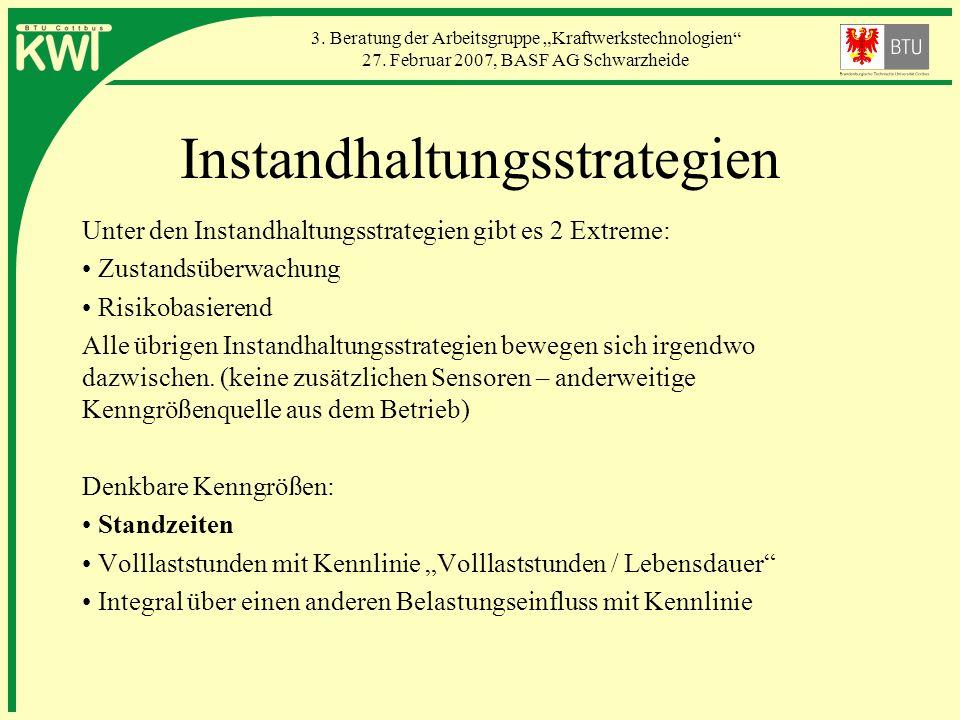 3. Beratung der Arbeitsgruppe Kraftwerkstechnologien 27. Februar 2007, BASF AG Schwarzheide Instandhaltungsstrategien Unter den Instandhaltungsstrateg