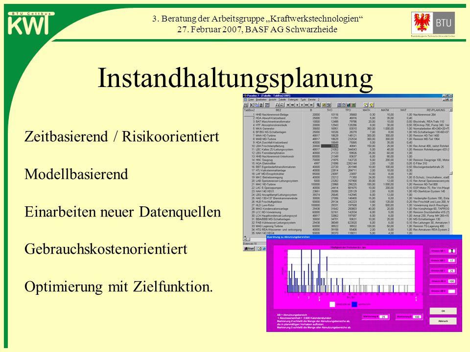 3. Beratung der Arbeitsgruppe Kraftwerkstechnologien 27. Februar 2007, BASF AG Schwarzheide Instandhaltungsplanung Zeitbasierend / Risikoorientiert Mo